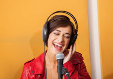 woman singing background yellow